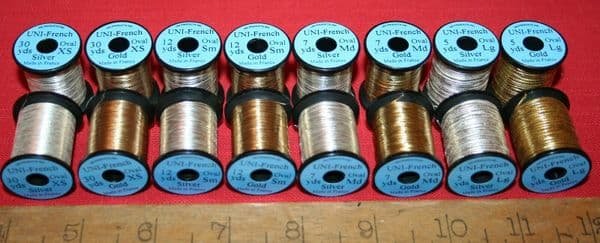 Fly Tying UNI French Oval Tinsel XS,S,M or L Gold or Silver M5